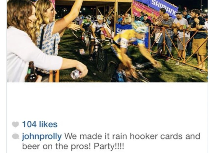 """""""we made it rain beer and hooker cards on the pros—party!"""""""
