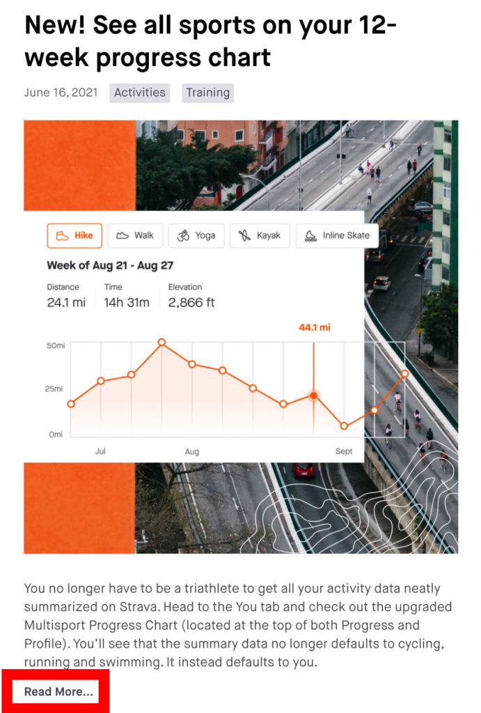 """a screenshot from Strava's """"What's New"""" page indicating the """"Read More"""" button"""
